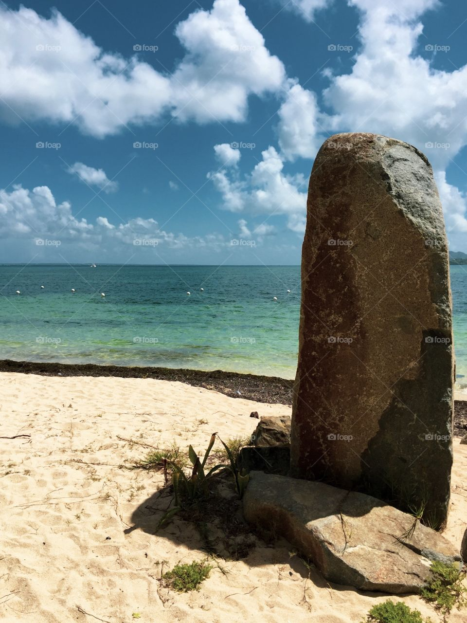 St. Maarten Beach Landscape, Oceanside View With Large Rock, Beautiful Landscape Photography, Beach With Turquoise Ocean Waters