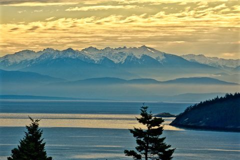 Sunrise over the Olympic Mountains