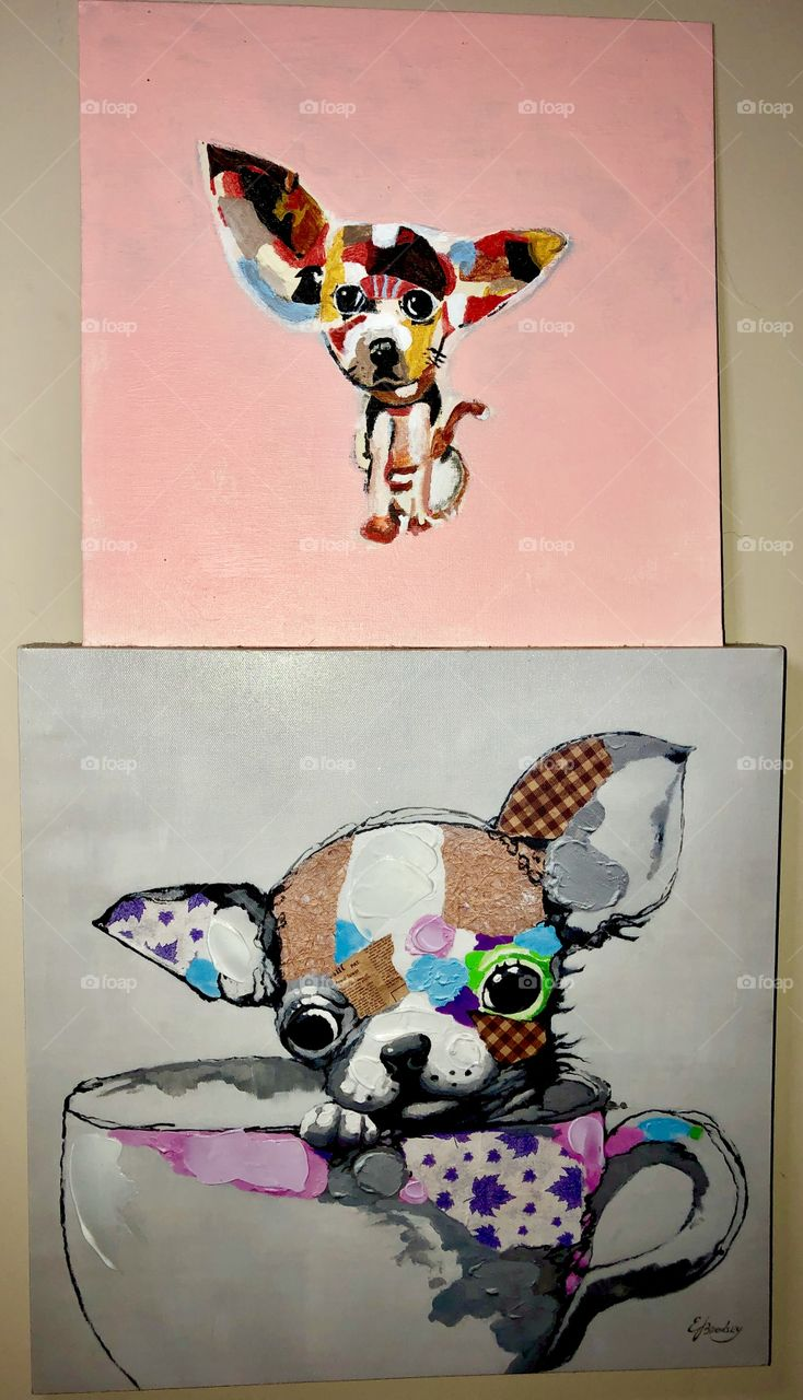 Original Acrylic paintings of my favorite dogs, chihuahuas.  I have 4 teacup chihuahuas and they are my fur babies & the loves of my life.  These were done about 2 years ago.