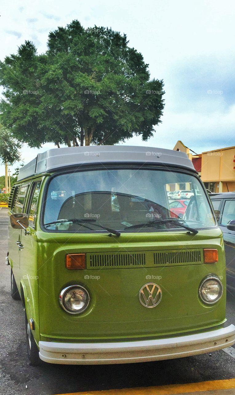 VW Bus. A green VW bus