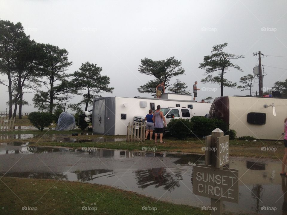Destruction in a campground after a tornado