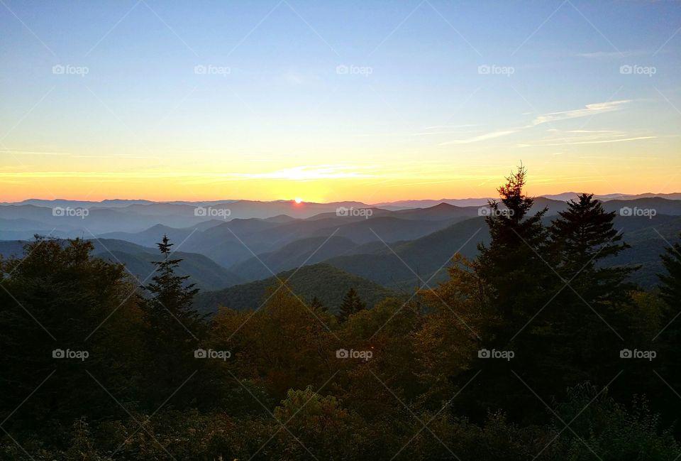 Blue Ridge Mountains Sunset. Sunset viewed from a Blue Ridge Parkway overlook