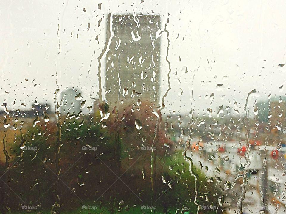 Rain water rolling down the window