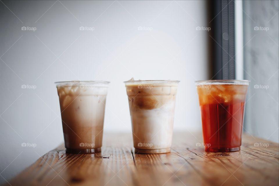 Iced drinks.