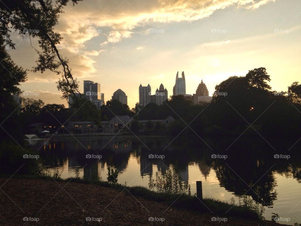 Beautiful sunset at Piedmont Park Lake in Midtown Atlanta Georgia