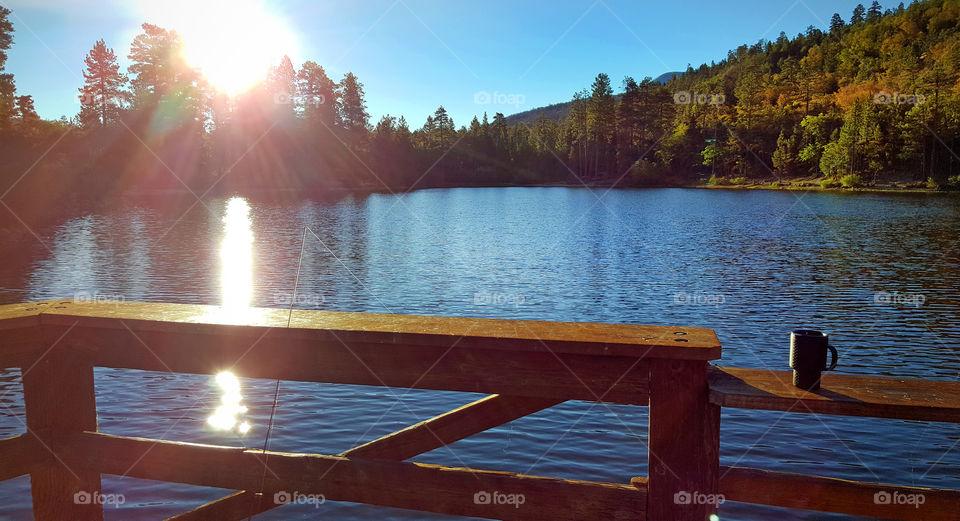 Fishing Lake, Angelus Oaks, Fishing rod, port, pier, sun rays, sunlight, morning