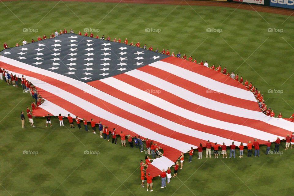 America flag at baseball game