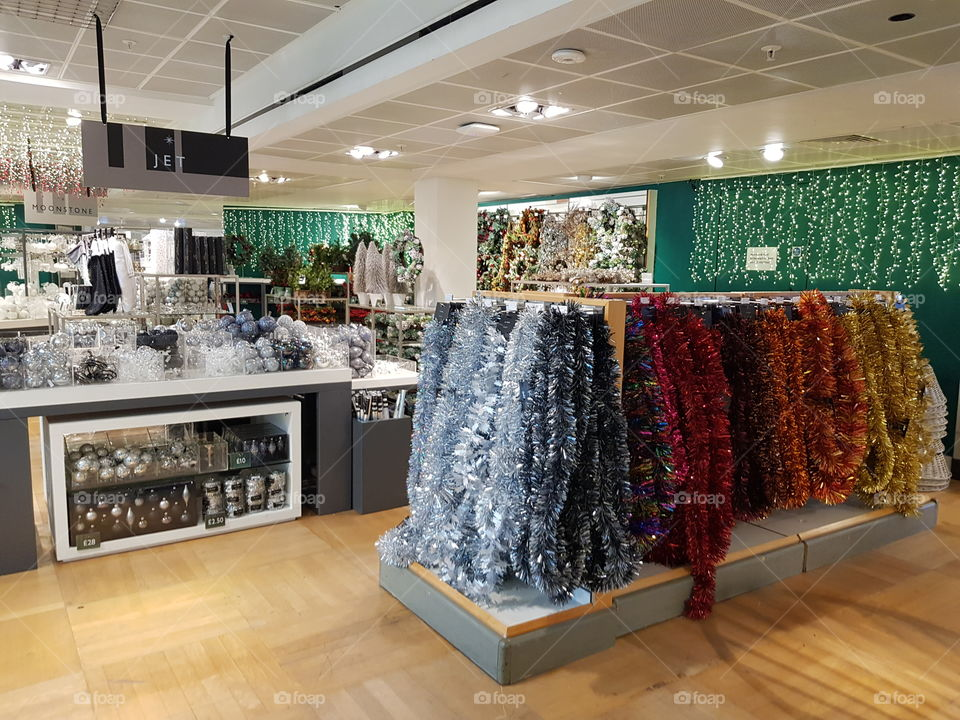 Christmas shop and decorations at Peter Jones Sloane square