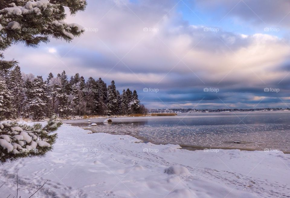 View of beach during winter