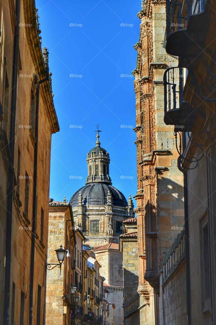 View of Iglesia de la Clerecía. Side view of Iglesia de la Clerecía, site of the Pontifical University, Salamanca.