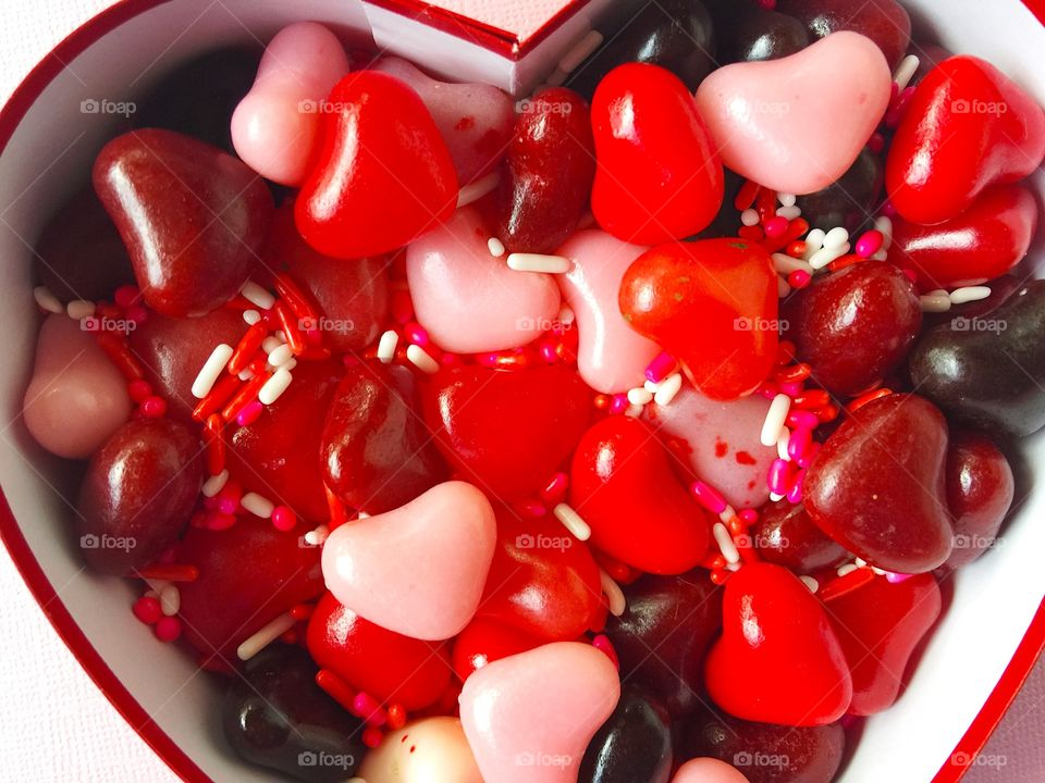 Valentine heart candy with sprinkles