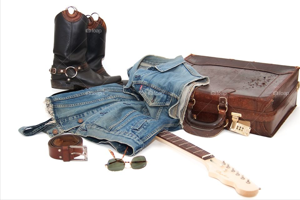 Jeans, boots and guitar stile