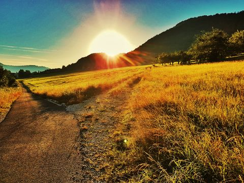 Sunrise over mountain and agriculture field