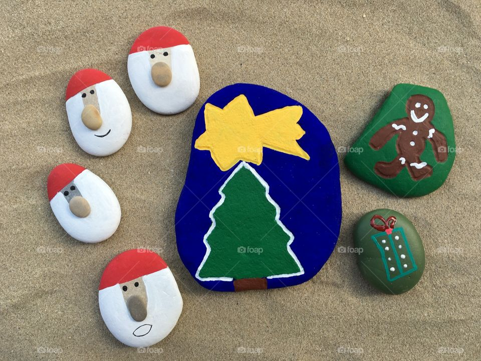 Christmas tree concept, stones composition