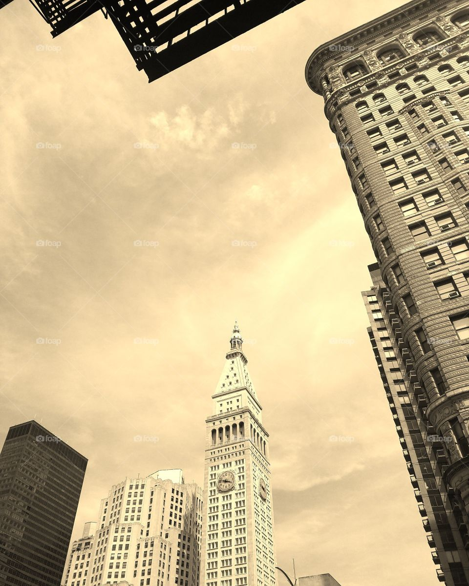New York City - July 2017 - Side of Flatiron Building and Madison Square Park - Taken on Android Phone - Galaxy S7 - Sepia Filter