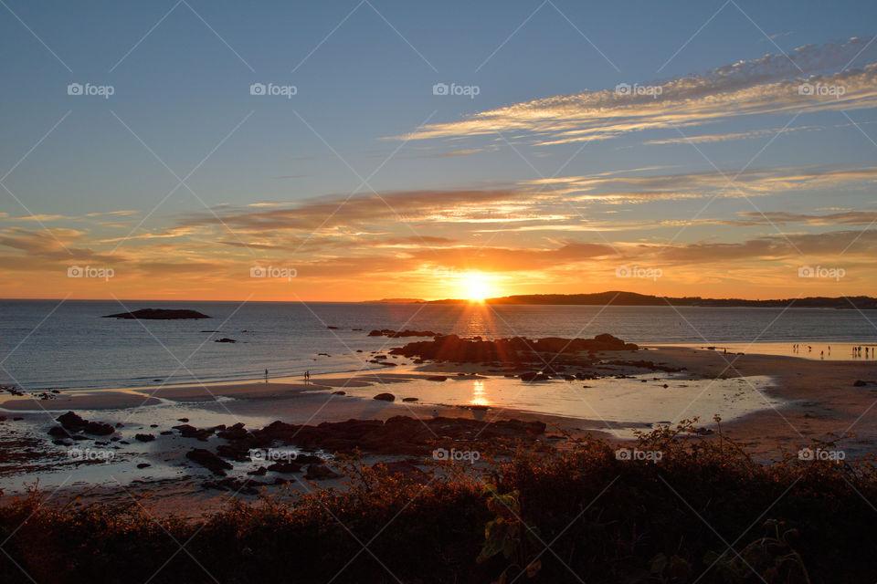 Sunset. A Lanzada beach, Galicia, Spain.