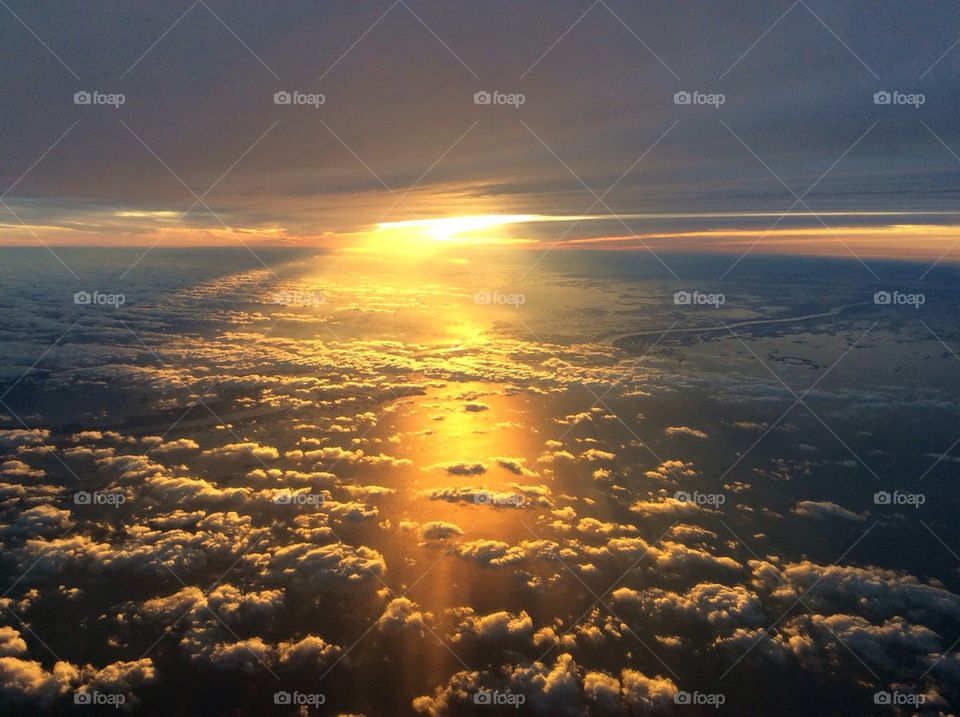 Sunset at 10,000 feet over New Orleans