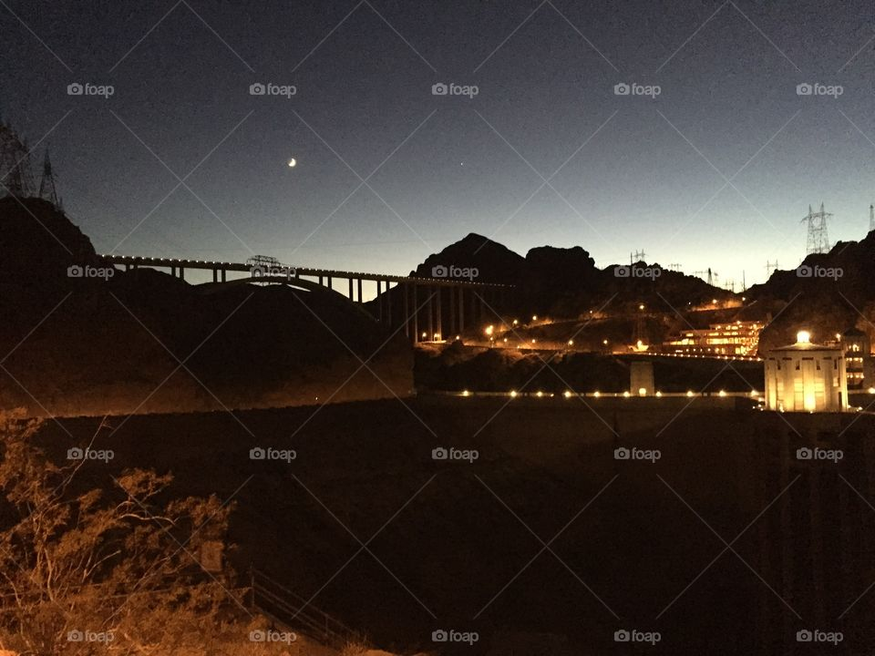Hoover Dam night shot. At the top