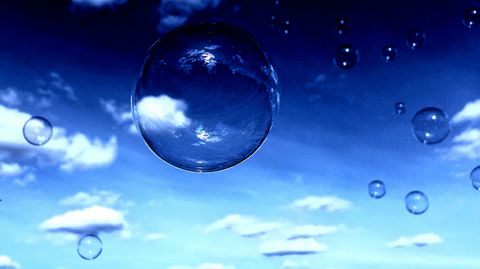 Bubbles in a dark sky. bubbles