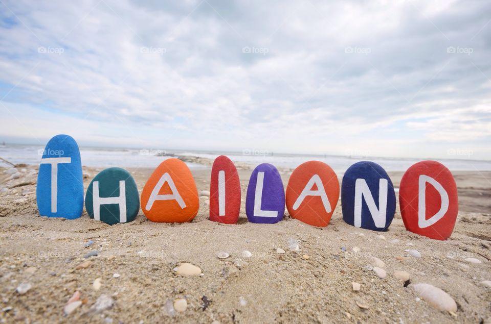 Thailand, souvenir on colourful stones