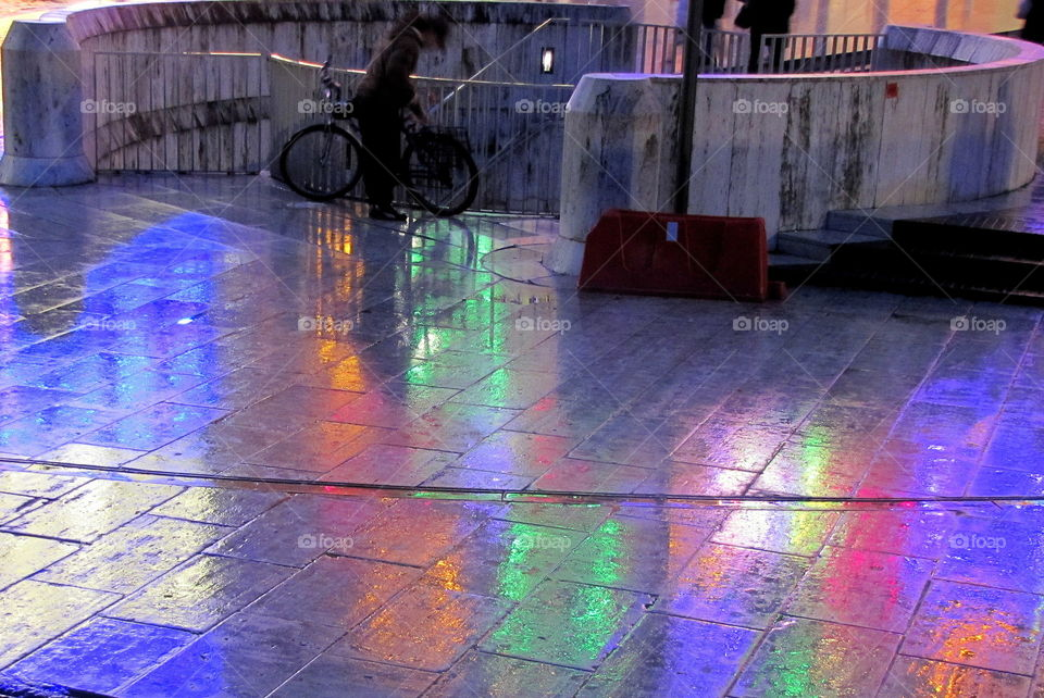colored rain reflections