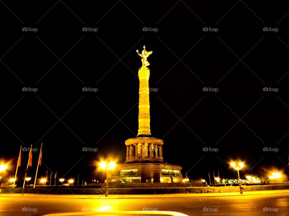 Victory Column Berlin Germany at night