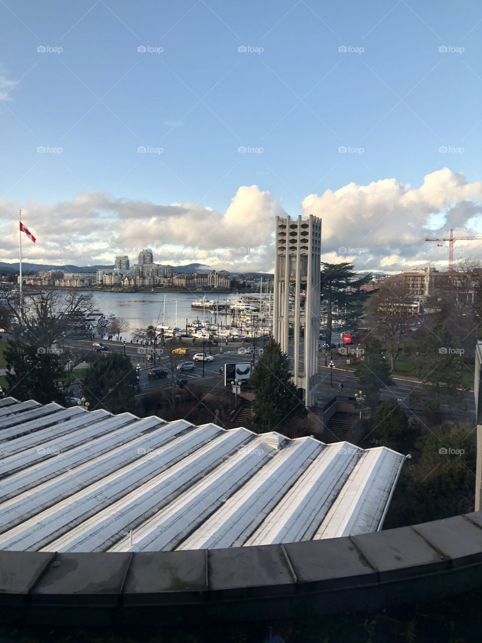 Beautiful Vintage Victoria Downtown Harbour Morning Photography From A Bird's Eye View