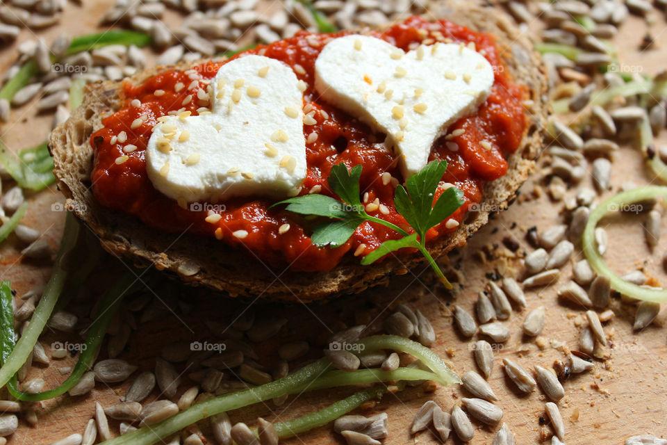 Hearts of cheese, love sandwich 2
