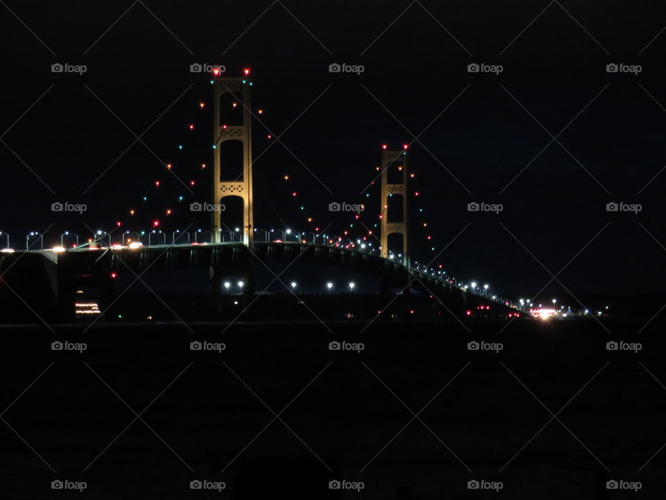 Mackinaw Bridge at night