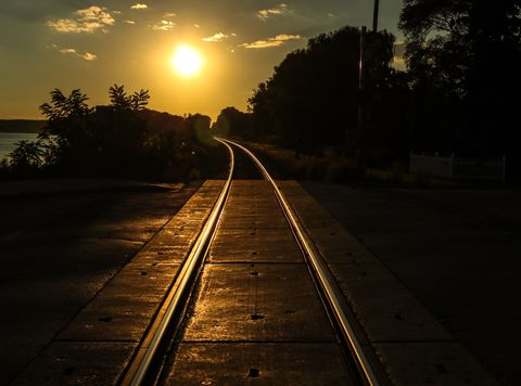 Sunset view of empty railway track