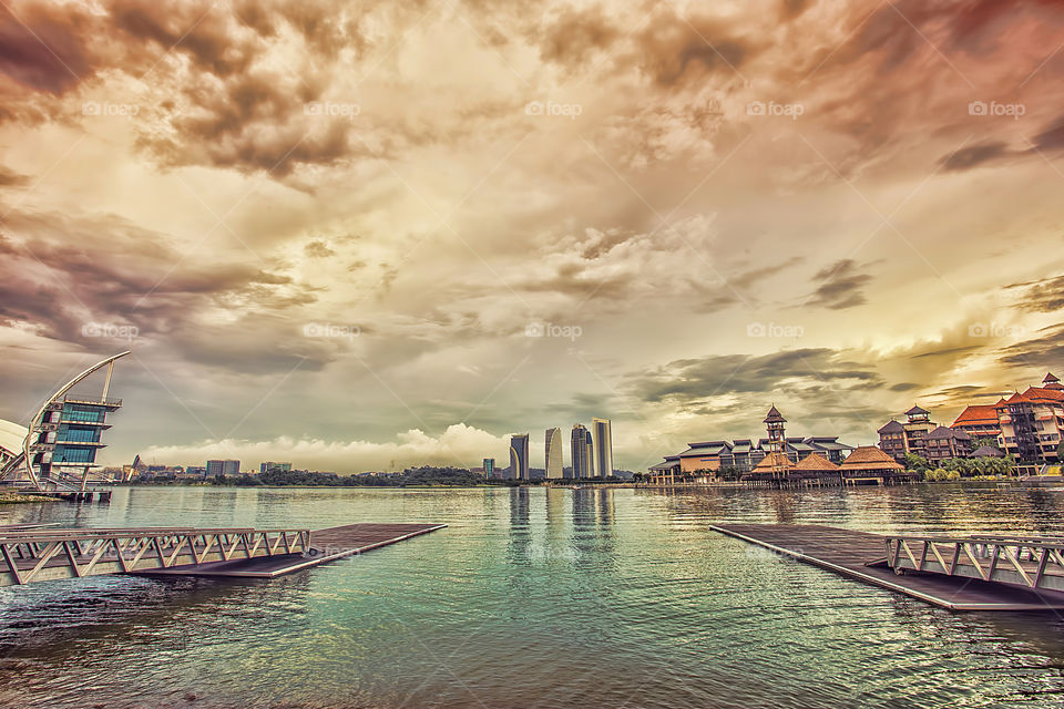 Pier on lake at Putrajaya