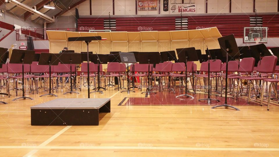 empty high school band seats