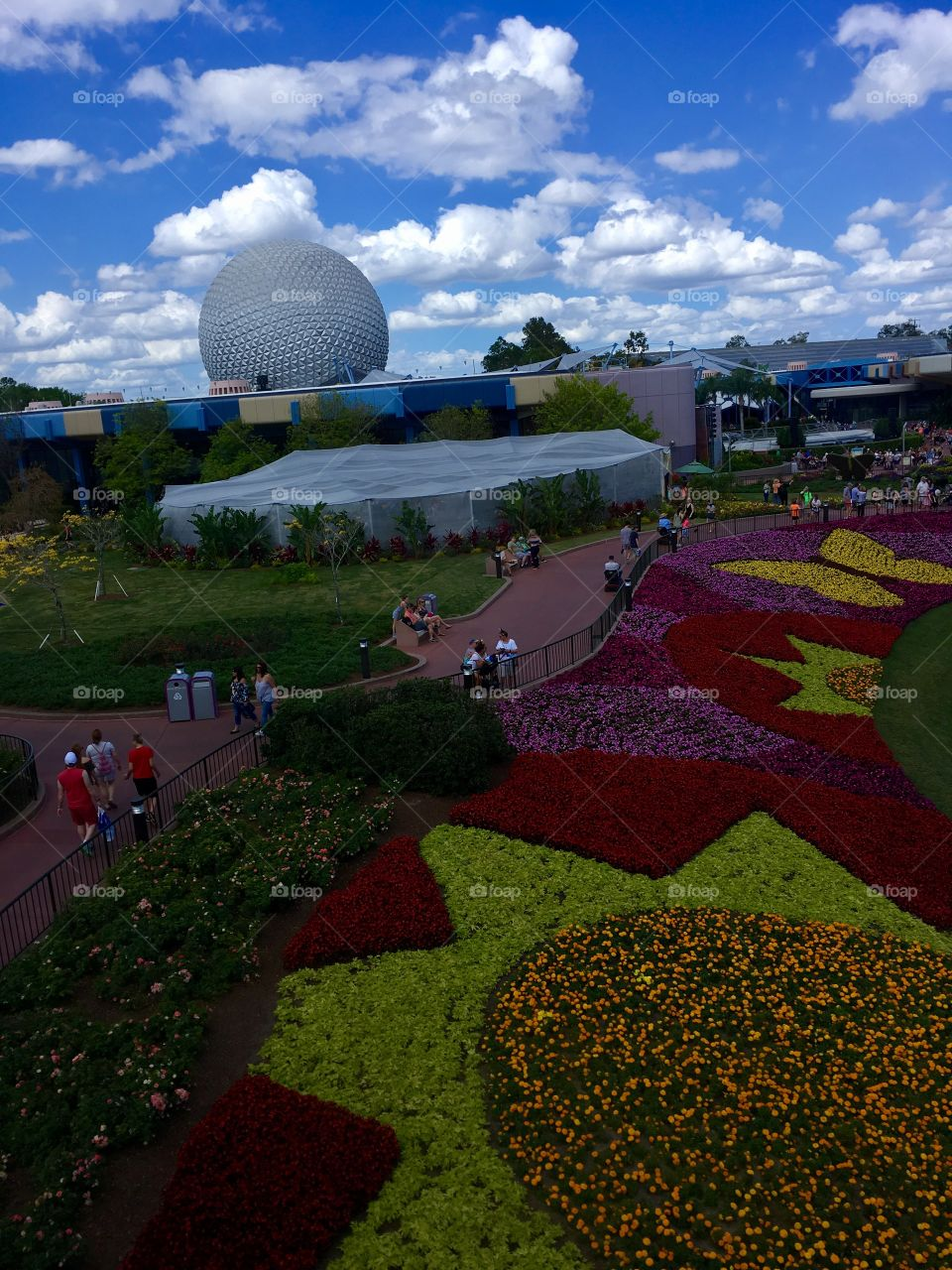 View of Epcot from the monorail during the flower and garden festival.