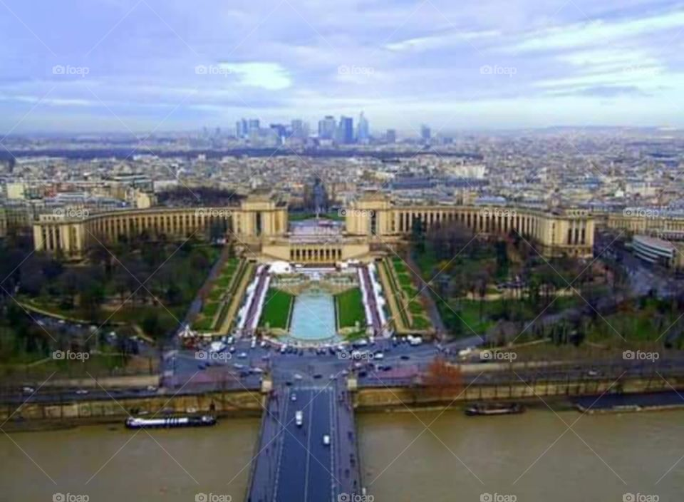 Spectacular view of Paris from Eiffel Tower