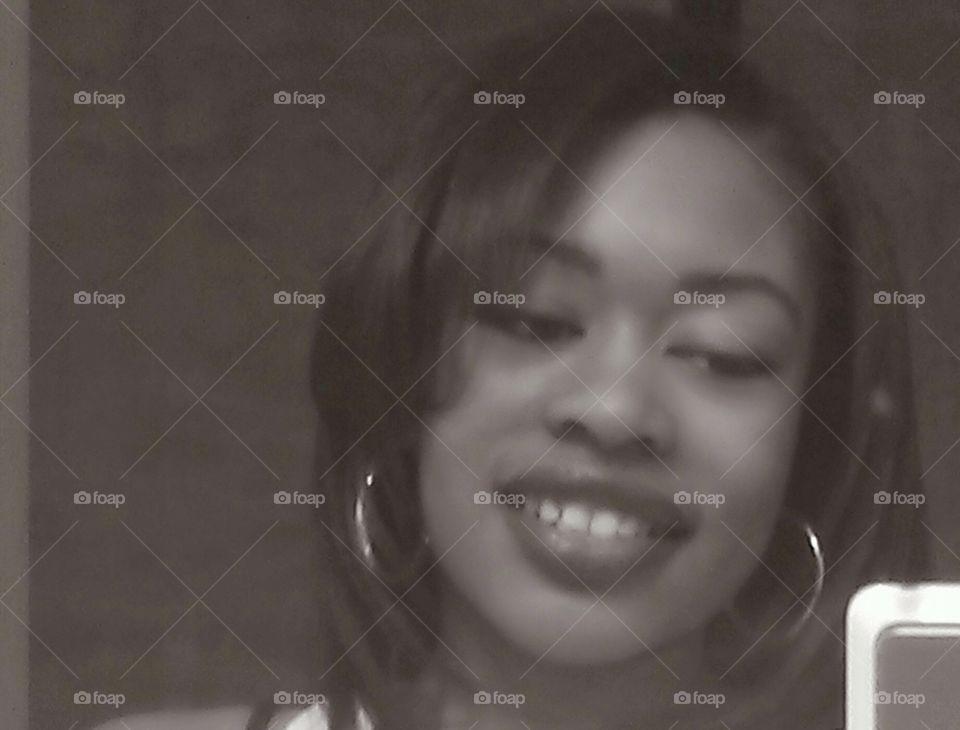 black & white selfie. just me taking a selfie