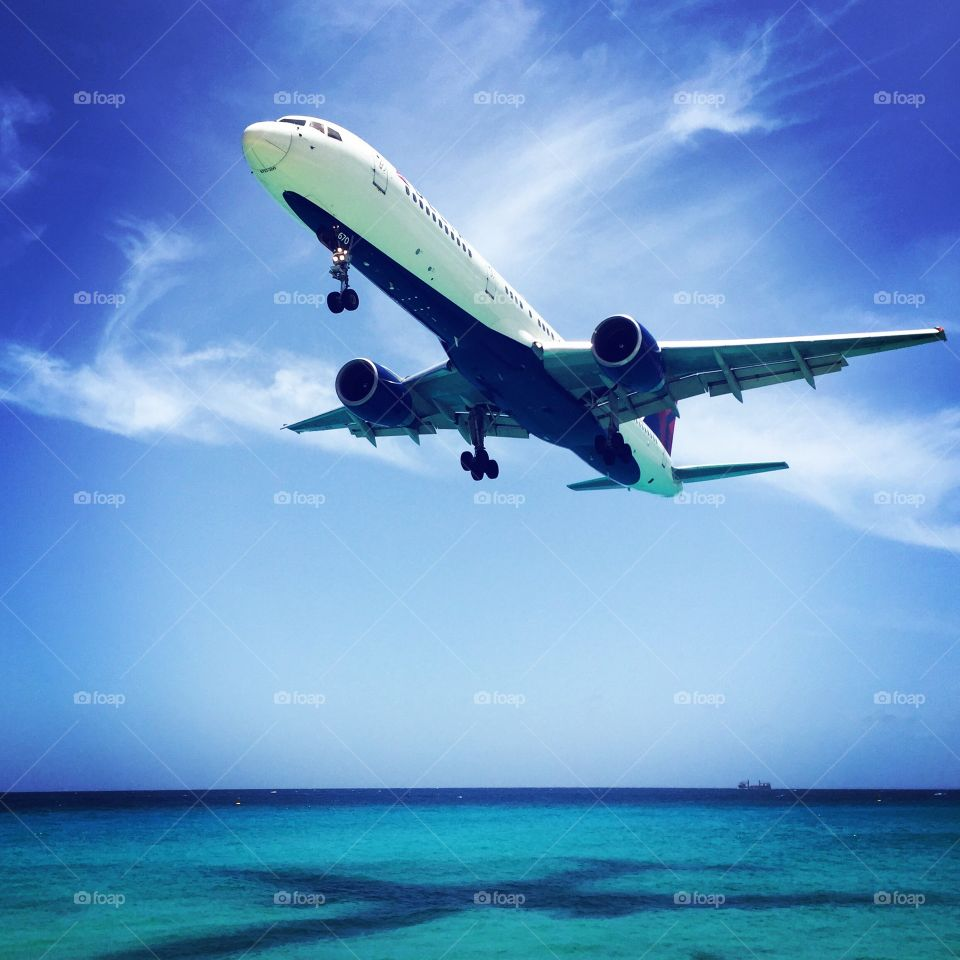 Plane Flying Over Ocean, Shadow Of Plane In The Water, Plane In Maho, St. Maarten Travel, Planes
