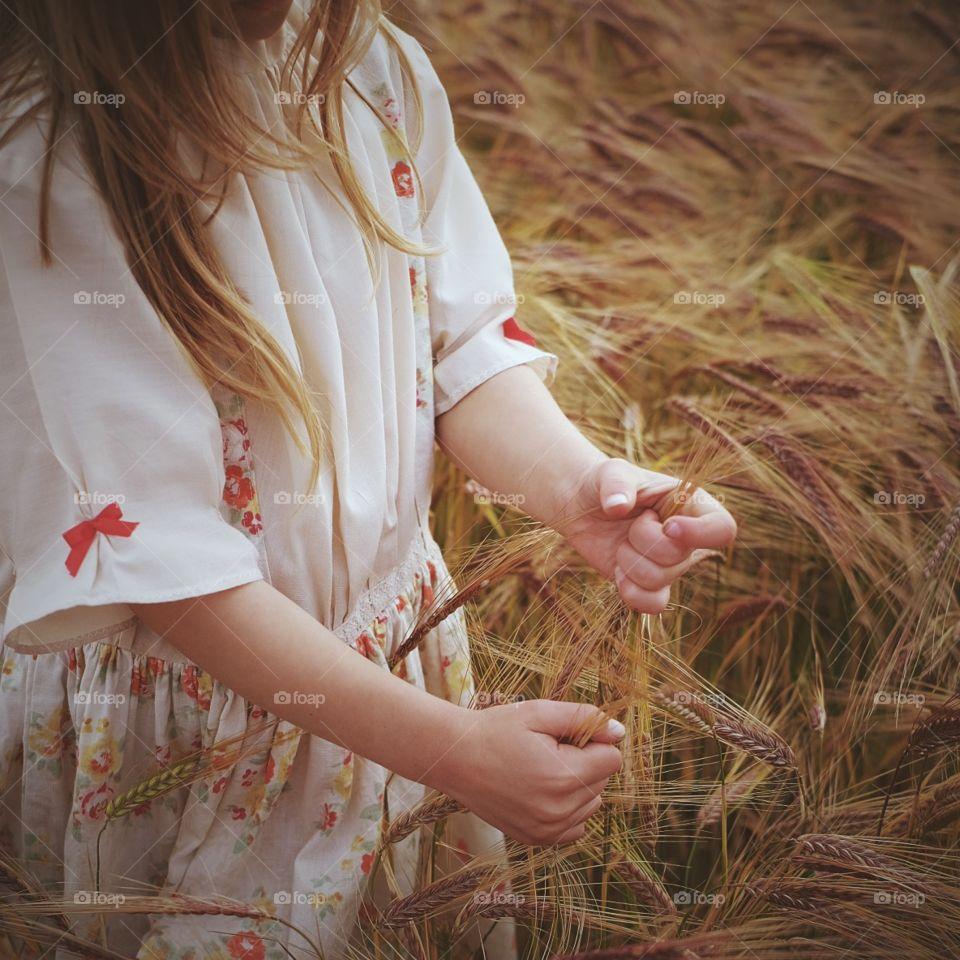 Woman, Nature, Girl, Grass, Straw