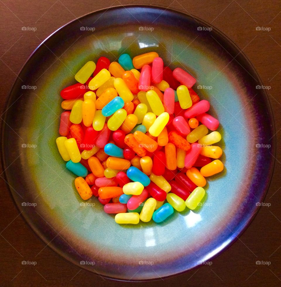 Colorful candies on table