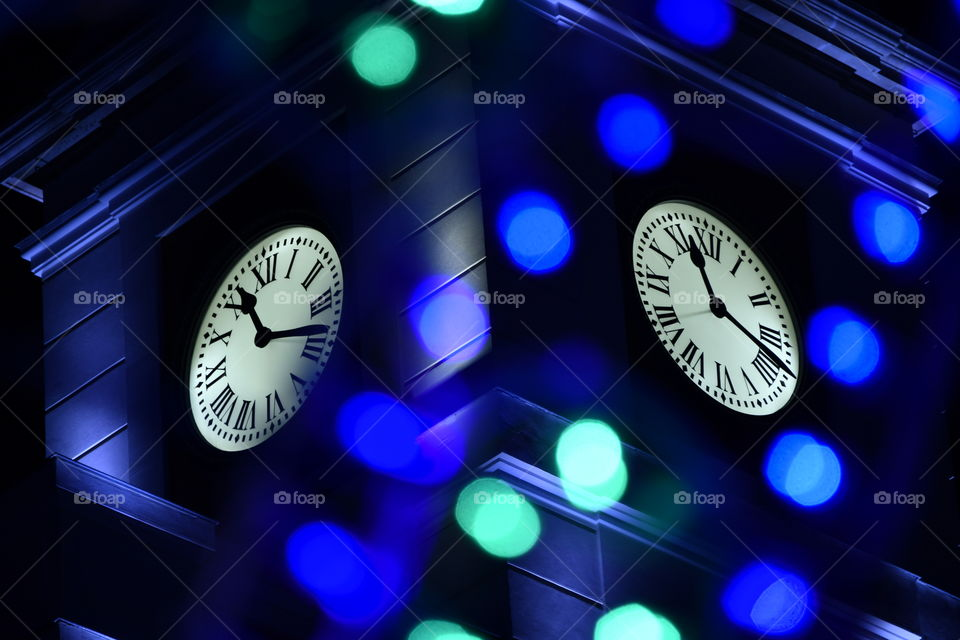 Reloj puerta del sol, luces de Navidad, Madrid. España-Puerta del Sol watch, Christmas lights, Madrid. Spain
