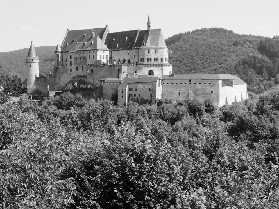 Chateau dé Vianden viewed through a lovely full forest against a backdrop of lush rolling hills outside of Vianden, Luxembourg on a sunny summer day.