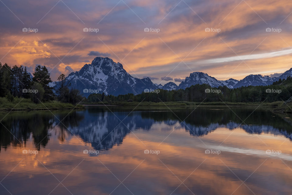 Sunset at Mt Moran