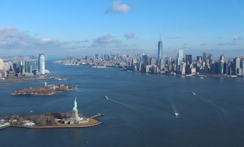 High angle view of statue of liberty