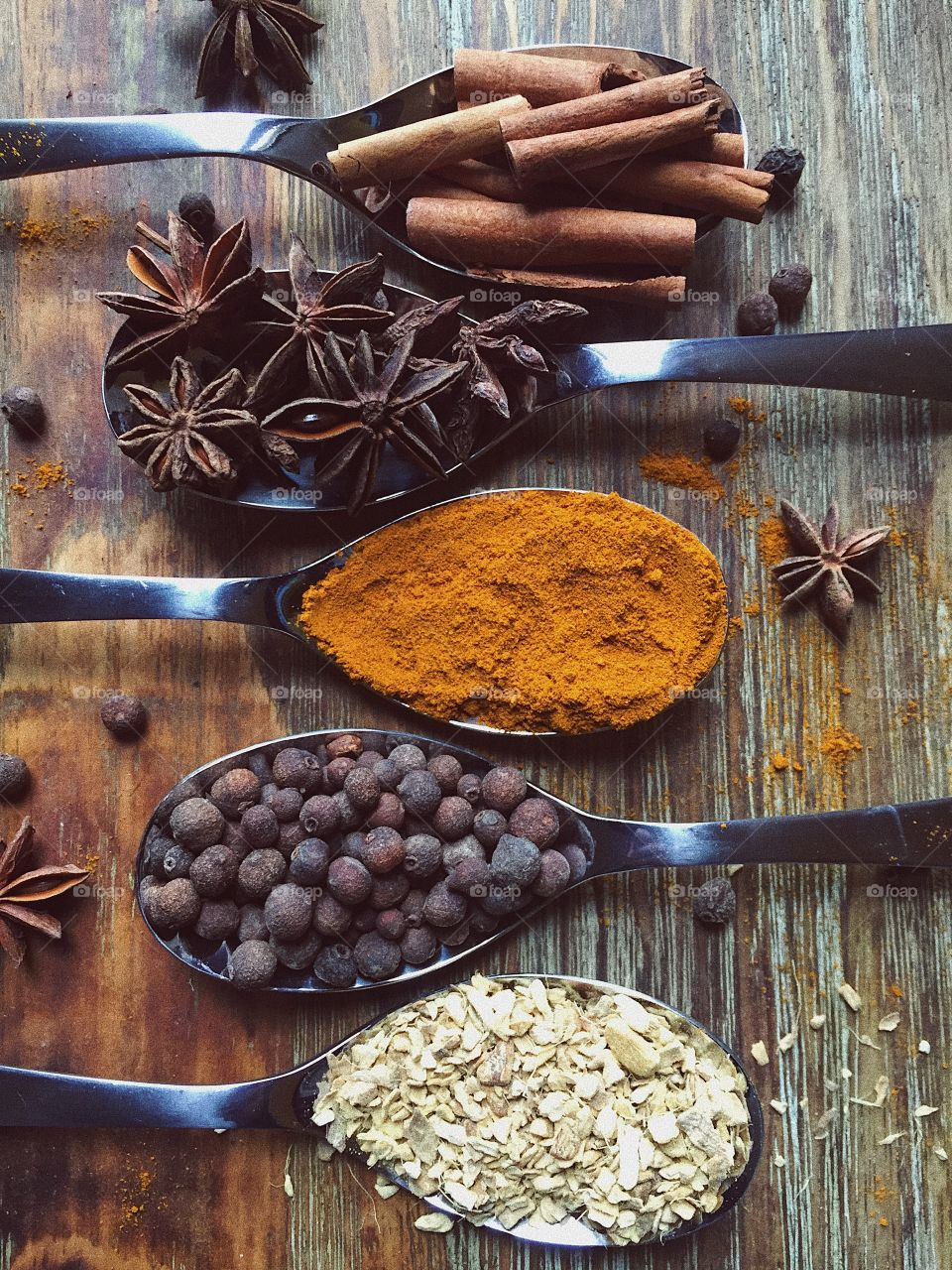 High angle view of spices on spoon