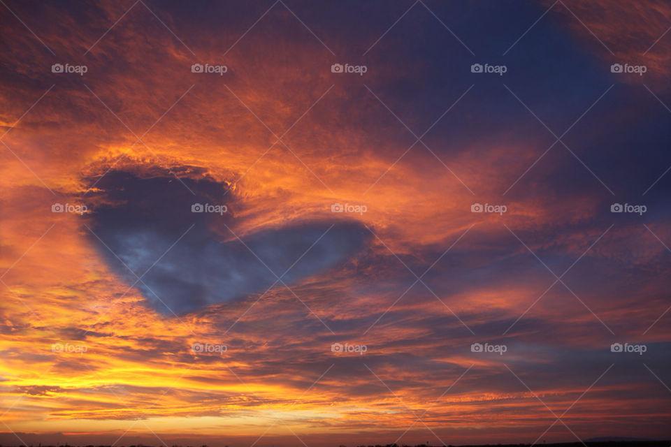 Heart shape in dramatic sky