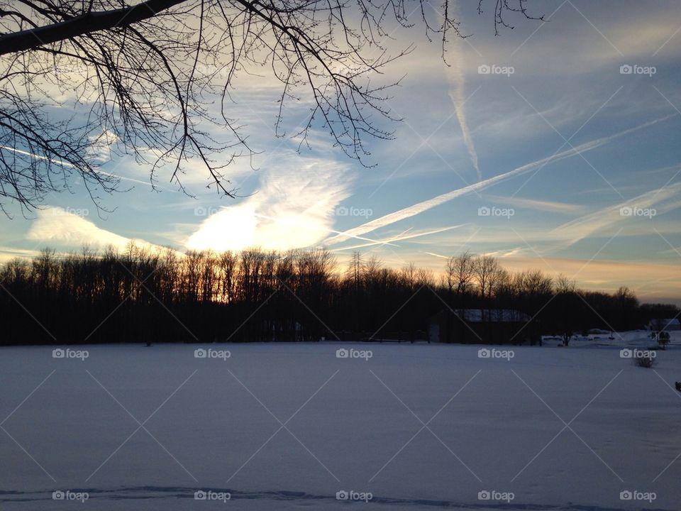 Sunset winter time snow