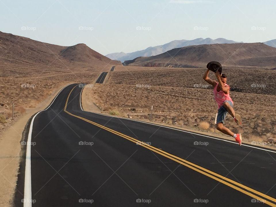 Man jumping on street