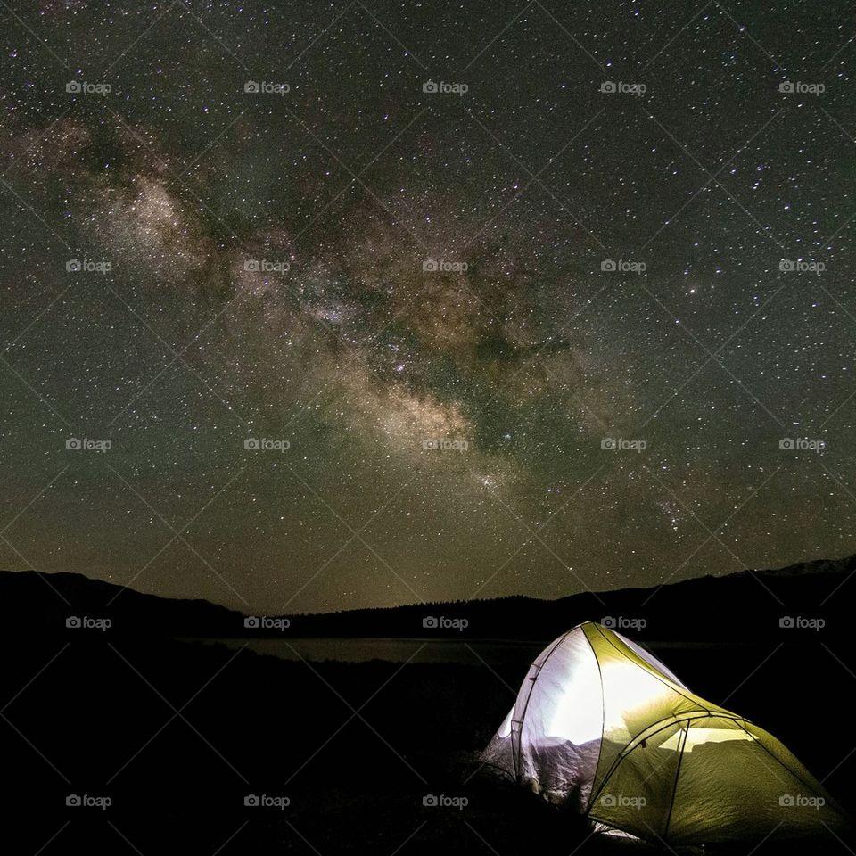 Illuminated galaxy at night