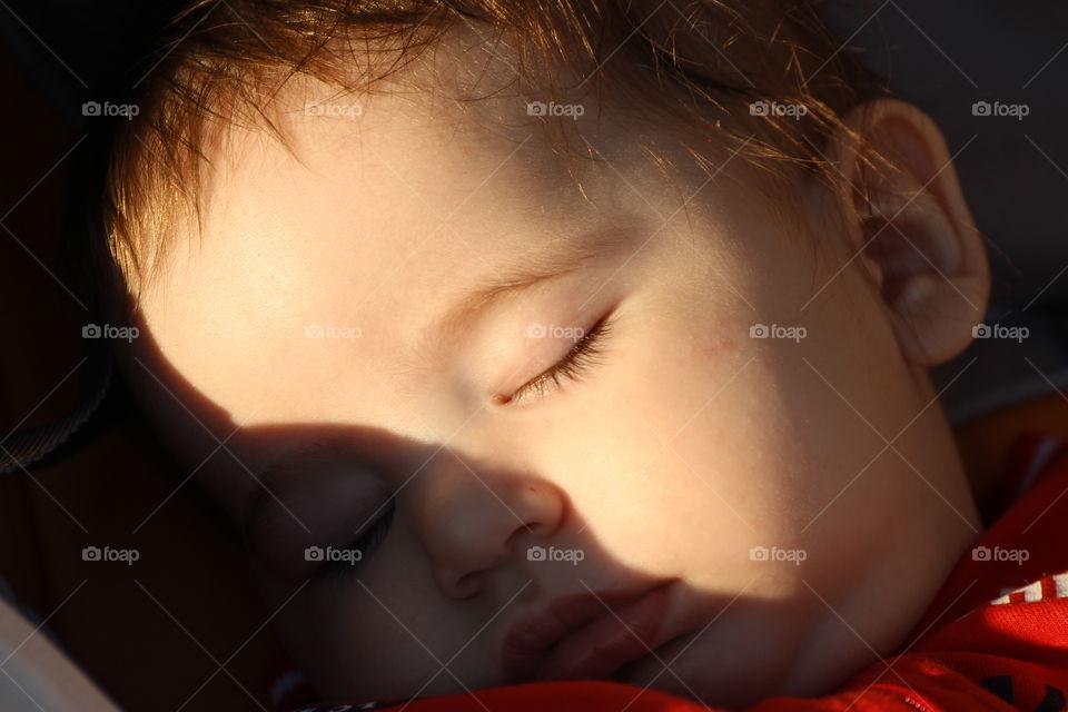 Close-up of boy sleeping