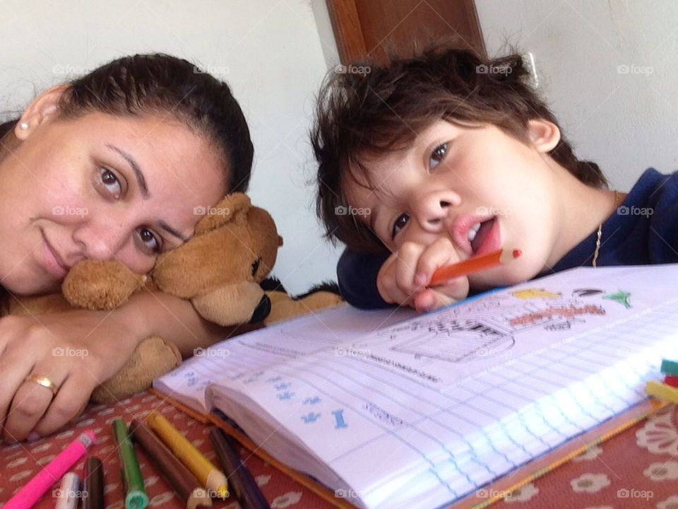 tired mom, monday morning....helping the youngest son on homework