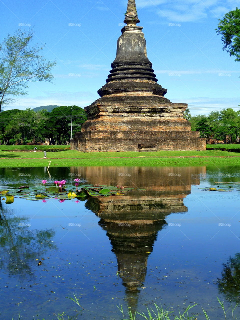 laotiano temple and reflection into the water with flowers